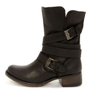 Steve Madden Brewzzer Motorcycle Boot, Blk Leather